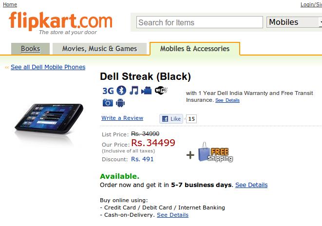 Dell Streak in India