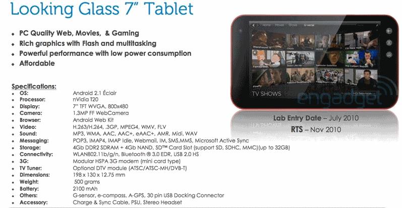 "Dell ""Looking Glass"" tablet spec sheet"