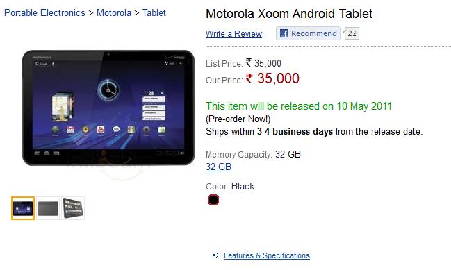 Motorola Xoom - Pre Order on Infibeam