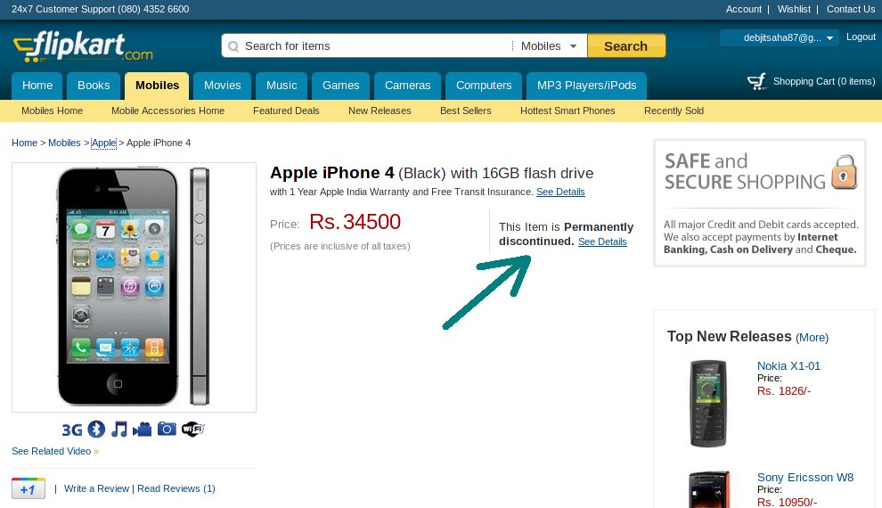Apple iPhone disconitnued on Flipkart.com