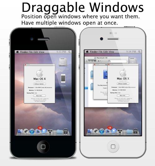 Mac OS X draggable windows in iPhone