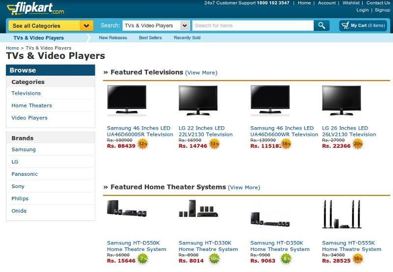 Flipkart Selling TVs, Home Theaters Online in India