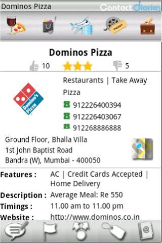 Contact Diaries App - detail screen