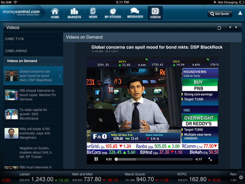 Moneycontrol iPad app - View 3