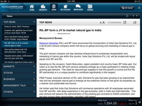 Moneycontrol iPad app - View 2