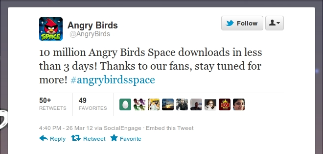 Angry Birds Space downloaded 10 Million times in just 3 days!