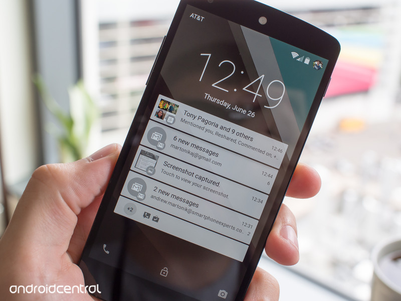 Android L Lockscreen with more incoming Notifications