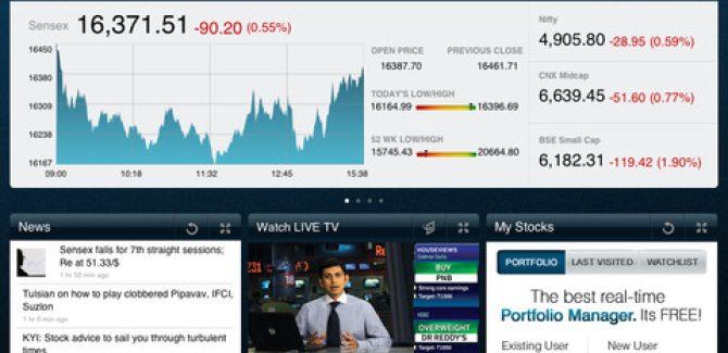 Moneycontrol iPad app - View 1