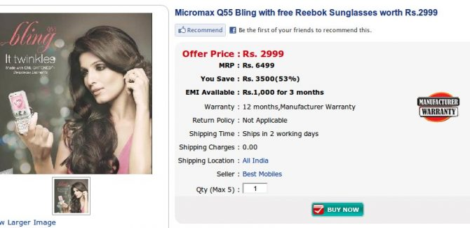 Micromax Q55 Bling for Rs. 2999/-